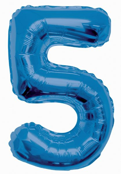 Blue Number 5 Foil Balloon